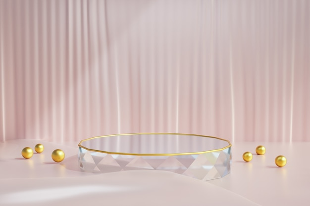 Kosmetischer produktstand, diamantglaspodest mit goldener kugel und rosafarbenem stoffboden auf dunklem hintergrund. 3d-rendering-illustration