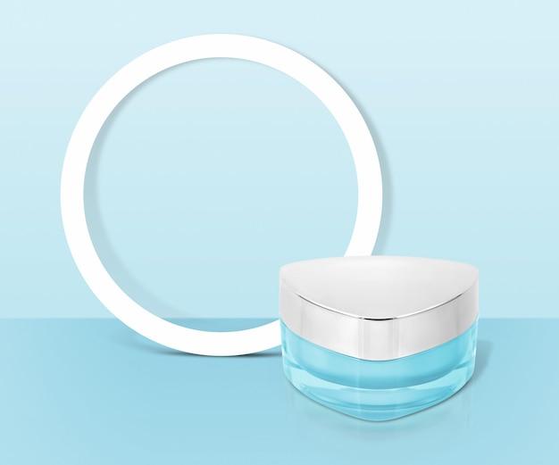 Kosmetisches glas des blauen dreiecks mit kreisrahmen