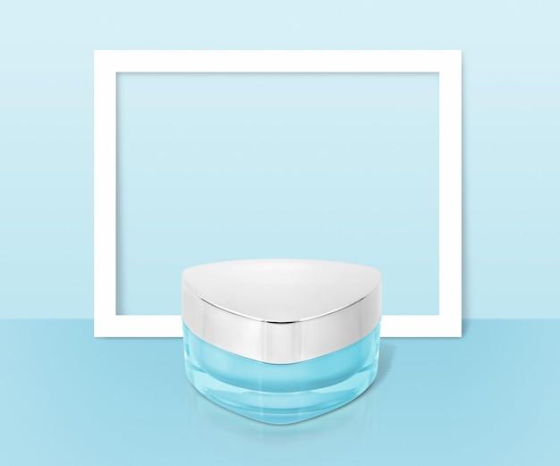 Kosmetisches glas des blauen dreiecks mit rahmen