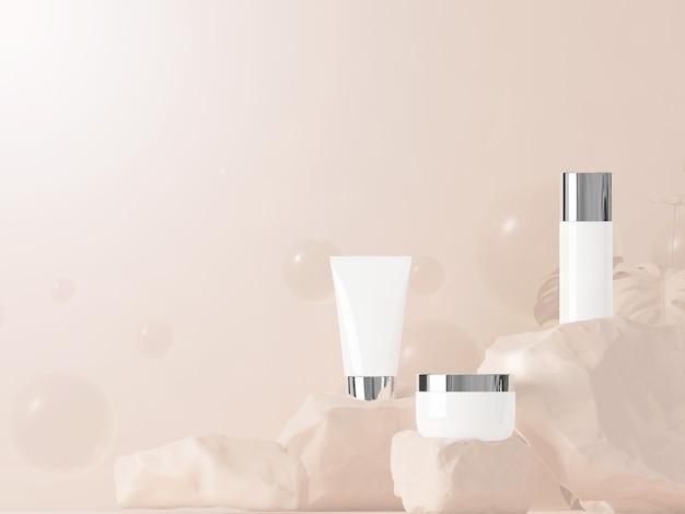 Kosmetisches produkt auf dem stein mit pastellbraunem hintergrund. 3d-rendering. kosmetisches minimalkonzept