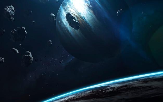 Kosmische landschaft, wunderschöne science-fiction-tapete mit endlosem weltraum. elemente dieses bildes von der nasa geliefert