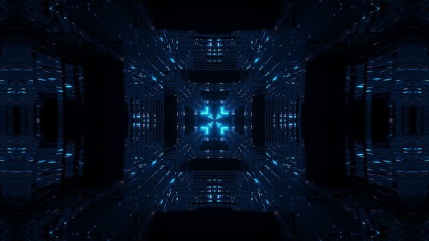 Kosmische umgebung mit blauen neonlaserlichtern - perfekt für eine digitale tapete
