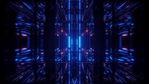 Kosmischer hintergrund mit blauen und orangefarbenen laserlichtern - perfekt für eine digitale tapete