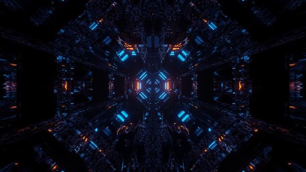 Kosmischer hintergrund mit bunten laserlichtern mit kühlen formen - perfekt für eine digitale tapete