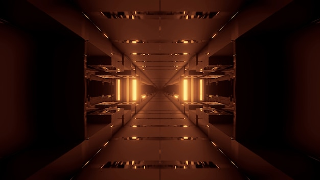 Kosmischer hintergrund mit goldenen neonlaserlichtern