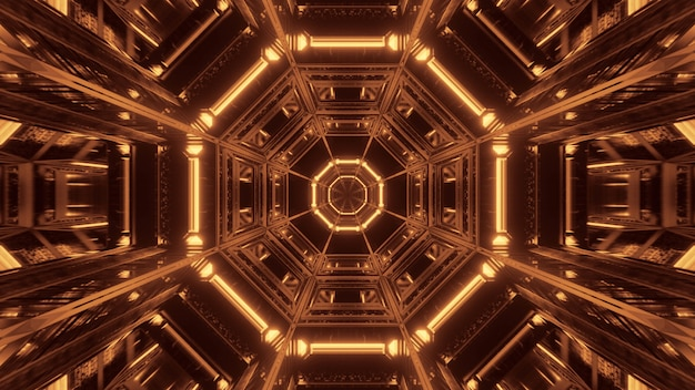 Kosmischer hintergrund mit schwarzen und goldenen laserlichtern