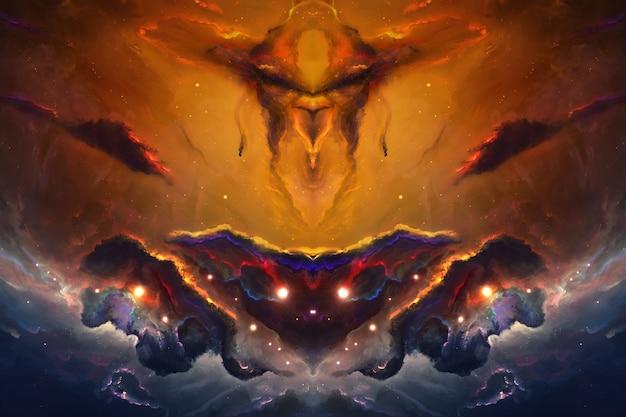 Kosmos-dämon-universum-galaxie, universeller chaosnebel von sternen abstrakter hintergrund