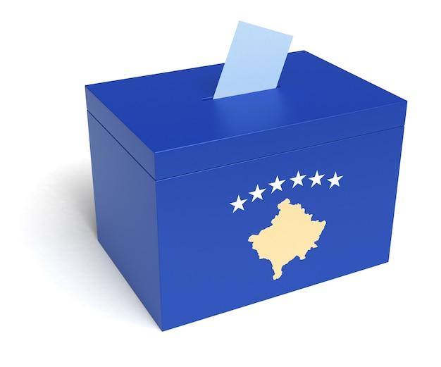 Kosovo-wahlurne mit kosovo-flagge. isoliert auf weißem hintergrund.