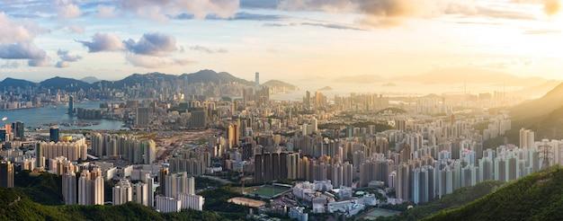 Kowloon-aussichtspunkt sonnenuntergang