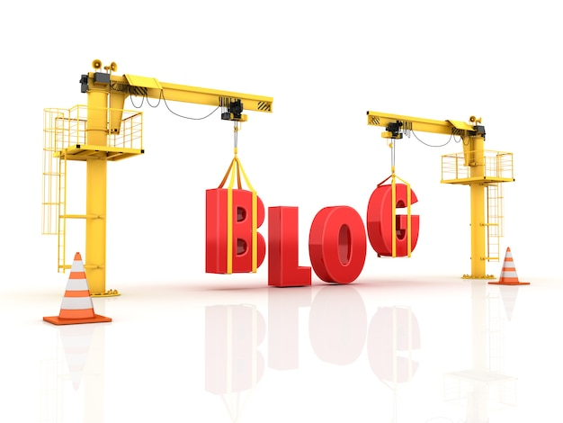 Kräne, die das blog-wort bauen