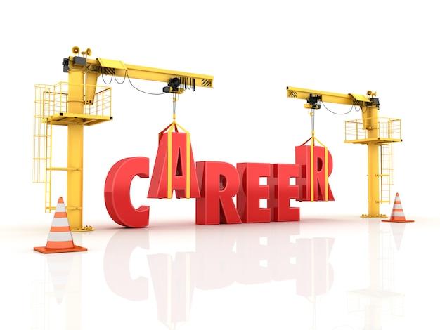 Kräne, die das karriere-wort bauen