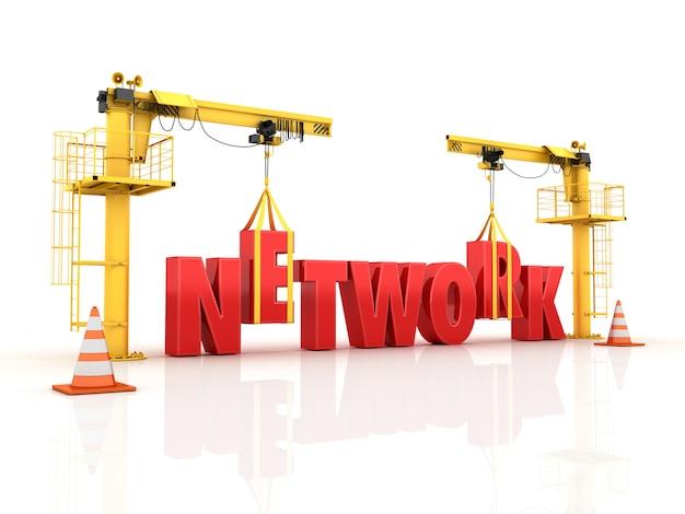 Kräne, die das netzwerk-wort bauen