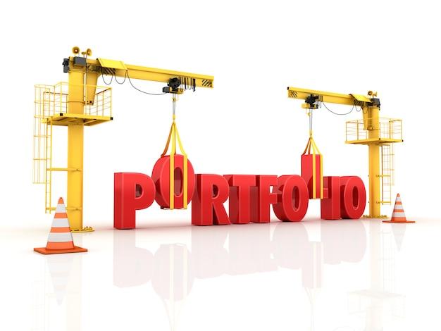 Kräne, die das portfolio-wort bauen