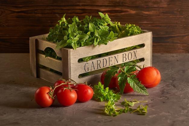 Kräuter in einer rustikalen hölzernen gartenbox mit roten tomaten auf einem zweig auf dem rustikalen hintergrund