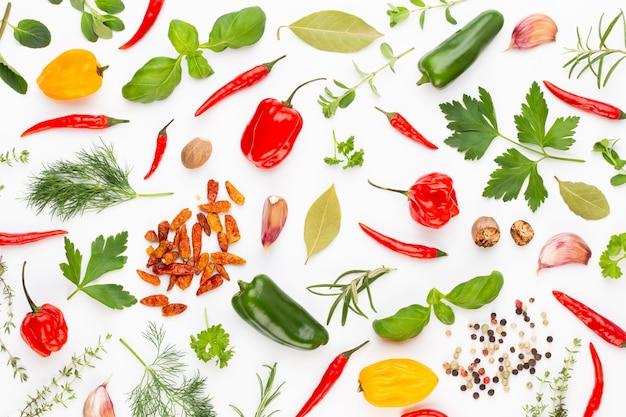 Kräuterblätter und chili auf weiß würzen.