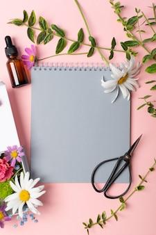 Kräuterblumen schere und notizbuch zur herstellung von herbarium auf rosa