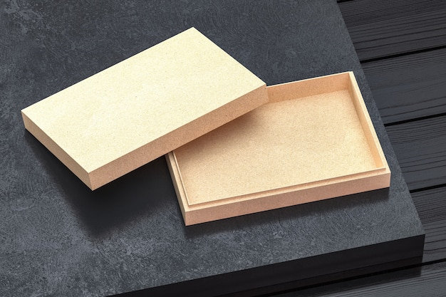 Kraftkarton geschenkbox modell mit geöffnetem deckel