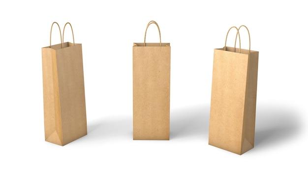 Kraftpapiertüte für flaschen. mockup-vorlage isoliert auf weißem hintergrund. 3d-rendering