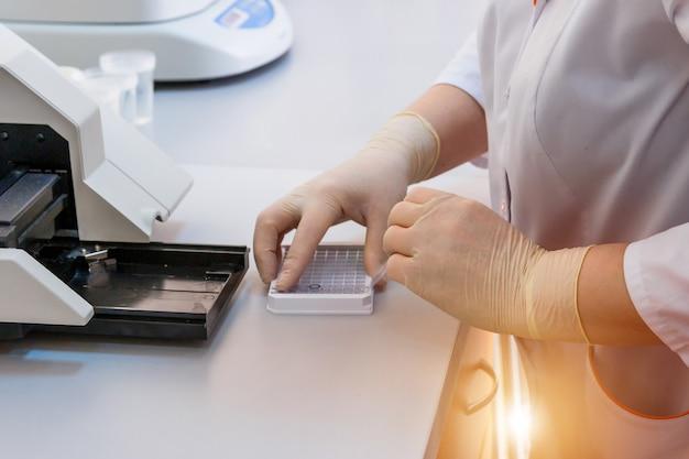 Krankenschwester ordnet reagenzgläser mit auf einem tablett an. virusinfektion. lungenentzündung testen. covid-19 und coronavirus-identifizierung. pandemie.