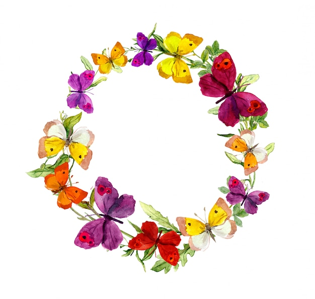 Kranzrandrahmen mit schmetterlingen, kräutern, wiesenblumen. aquarell