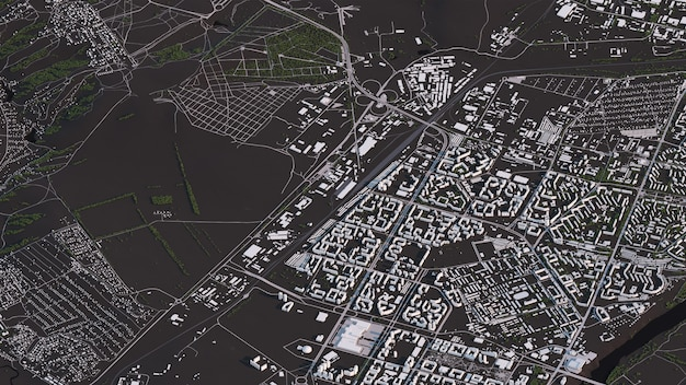 Krasnojarsk-karte in den isometrischen straßen und in den gebäuden der landschaft 3d