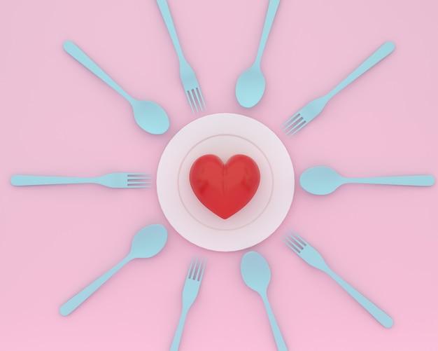 Kreativ vom herzen auf platte mit blauen löffeln und gabeln auf rosa farbe. minimale gesundheitsversorgung