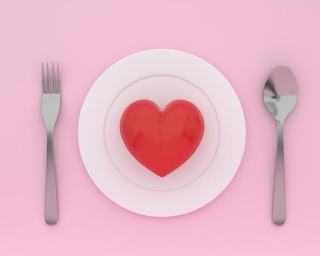 Kreativ vom herzen auf platte mit löffeln und gabeln auf rosa farbe. minimales gesundheitskonzept