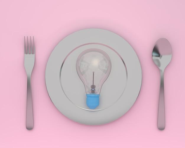 Kreativ von den glühlampen, die auf platte mit löffeln und gabeln auf rosa farbe glühen. minimal conc