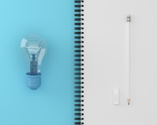 Kreativ von der glühlampe mit weißem bleistift auf der notizbuchseite weiß und blau.