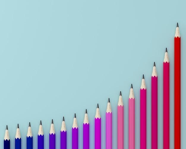Kreativ von zeichenstiften, farbige bleistifte auf diagramm, wellenmusterreihe auf blauem hintergrund