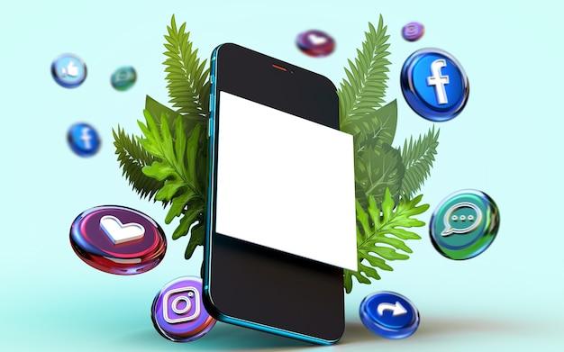 Kreative 3d-rendering mobile online-banner-post-mockup-web-banner-marketing-material-präsentation