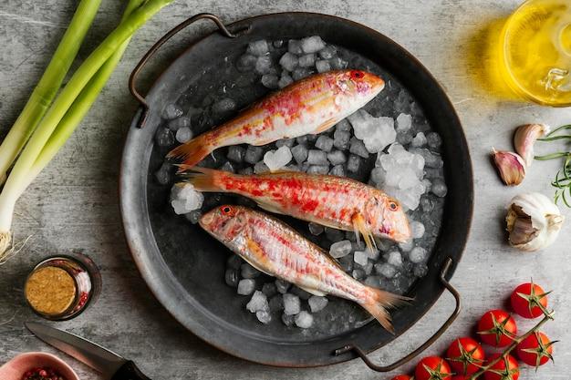 Kreative anordnung von rohem fisch