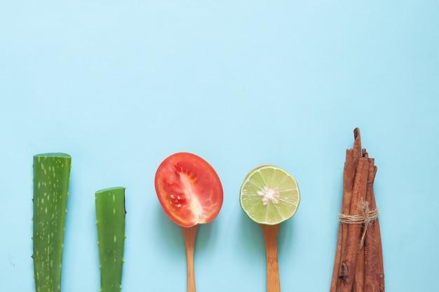 Kreative ebenenlage des naturschönheitskonzeptes, der aloe vera und der tomate.