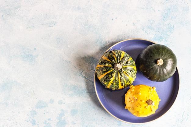 Kreative flache lageherbstzusammensetzung mit kleinen dekorativen kürbisen auf einer blauen platte.