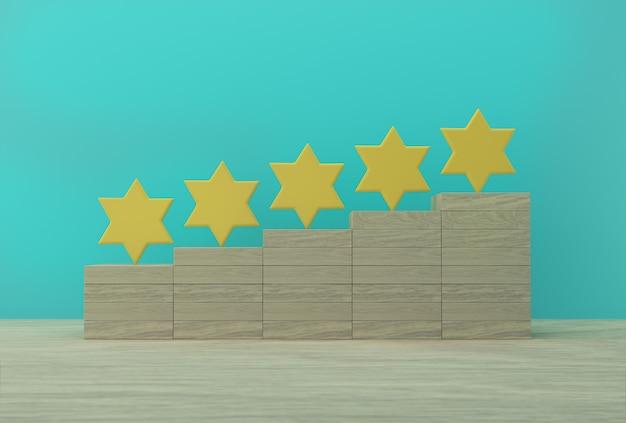 Kreative idee der gelben form mit fünf sternen auf weißer wand. die beste bewertung für hervorragende unternehmensdienstleistungen für die zufriedenheit.