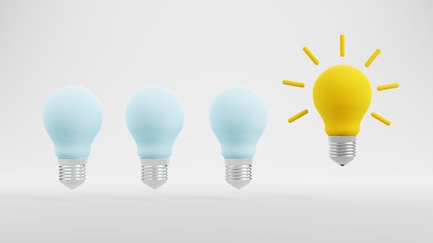 Kreative idee und innovation gelbes glühbirnen-symbol auf weiß