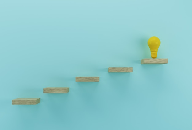 Kreative idee und innovation. glühlampe, die eine idee hervorragend auf hölzernem hintergrund aufdeckt