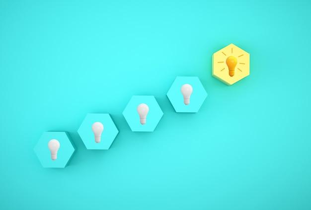 Kreative idee und innovation mit minimalem konzept. glühbirne enthüllt eine idee mit sechseck