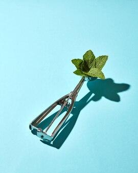 Kreative komposition aus minzblättern im metalllöffel für eis