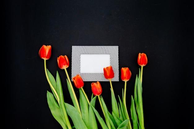 Kreative komposition mit fotorahmenmodell, rote tulpen