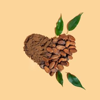 Kreative komposition mit gesunden zutaten bio-kakaobohnen-pulver in form von a