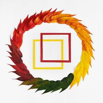 Kreative komposition von herbstblättern, kreisförmig angeordnet mit quadratischen rahmen in der mitte.
