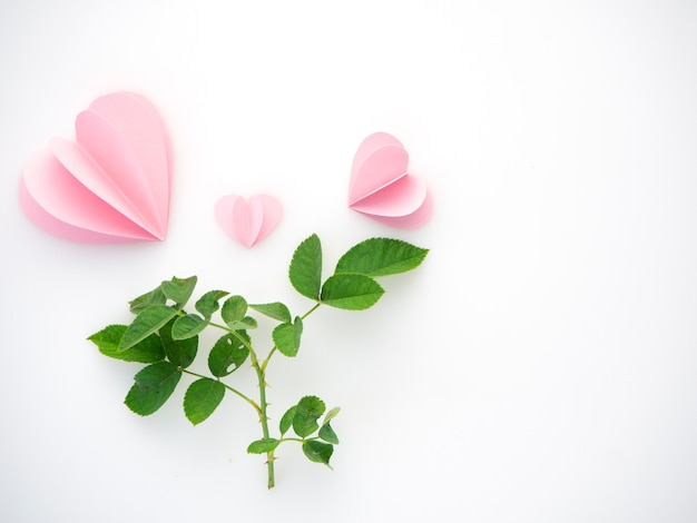 Kreative liebe rosa papierherzen