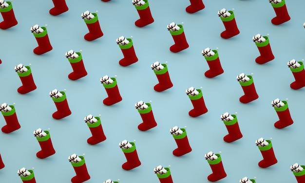 Kreative minimale weihnachtskunst. muster mit weihnachtssocken auf blauem hintergrund flachlegen 3d rendern