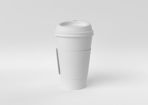 Kreative minimalpapieridee. weiße kaffeetasse des konzeptes mit weißem hintergrund. 3d übertragen, abbildung 3d.