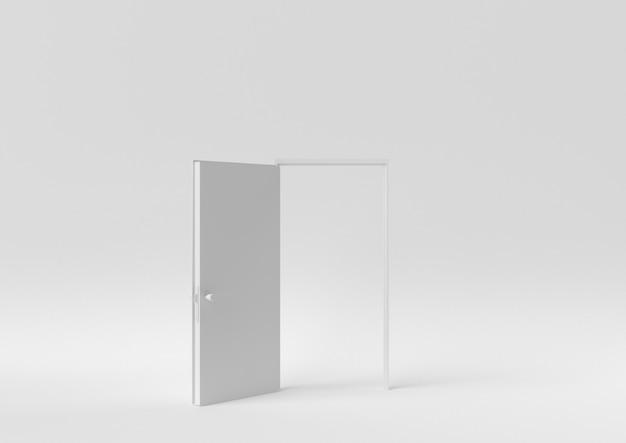 Kreative minimalpapieridee. weiße tür des konzeptes mit weißem hintergrund. 3d übertragen, abbildung 3d.