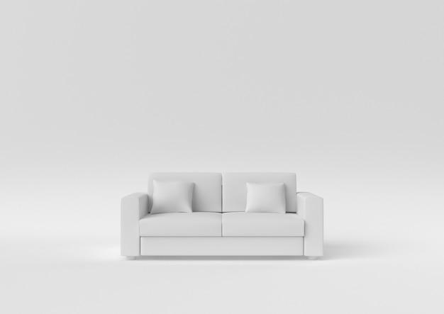 Kreative minimalpapieridee. weißes sofa des konzeptes mit weißem hintergrund. 3d übertragen, abbildung 3d.