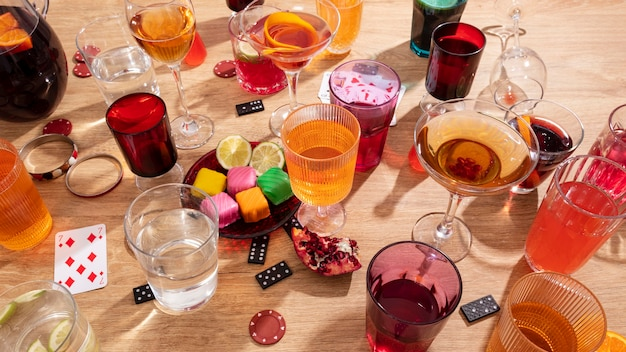 Kreative party stillleben arrangement