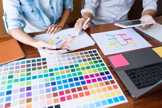 Kreative ui-designer-teamwork-besprechungsplanung, die eine drahtmodell-layout-anwendung entwirft