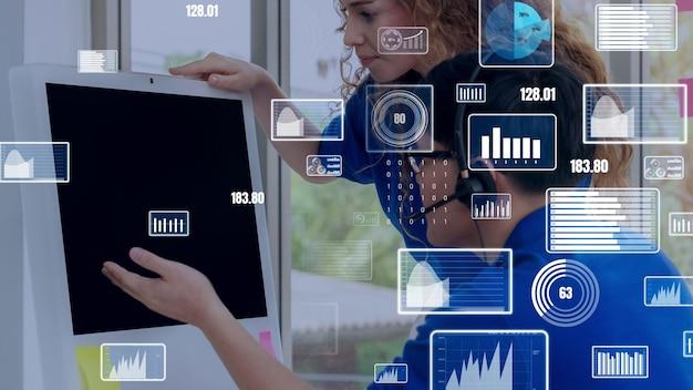 Kreative visualisierung der technologie zur analyse von geschäftsdaten